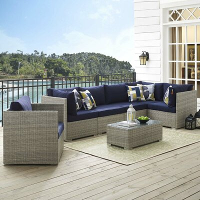 Highland Dunes Rattan Sunbrella Sectional Set Cushions Cushion Color Seating Groups