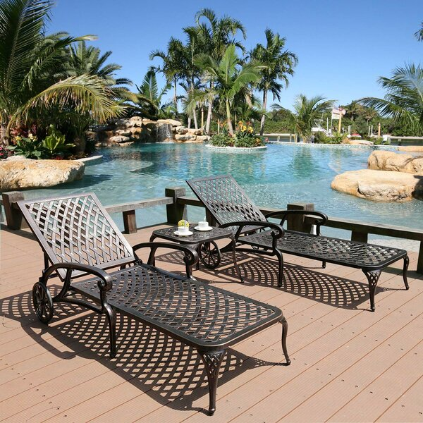 Chaise Lounge Outdoor Chair Aluminum Pool Side Sun Lounges With Wheels Adjustable Reclining Patio Furniture Set With End Table Pack Of 3(antique Bronze) by Canora Grey Canora Grey