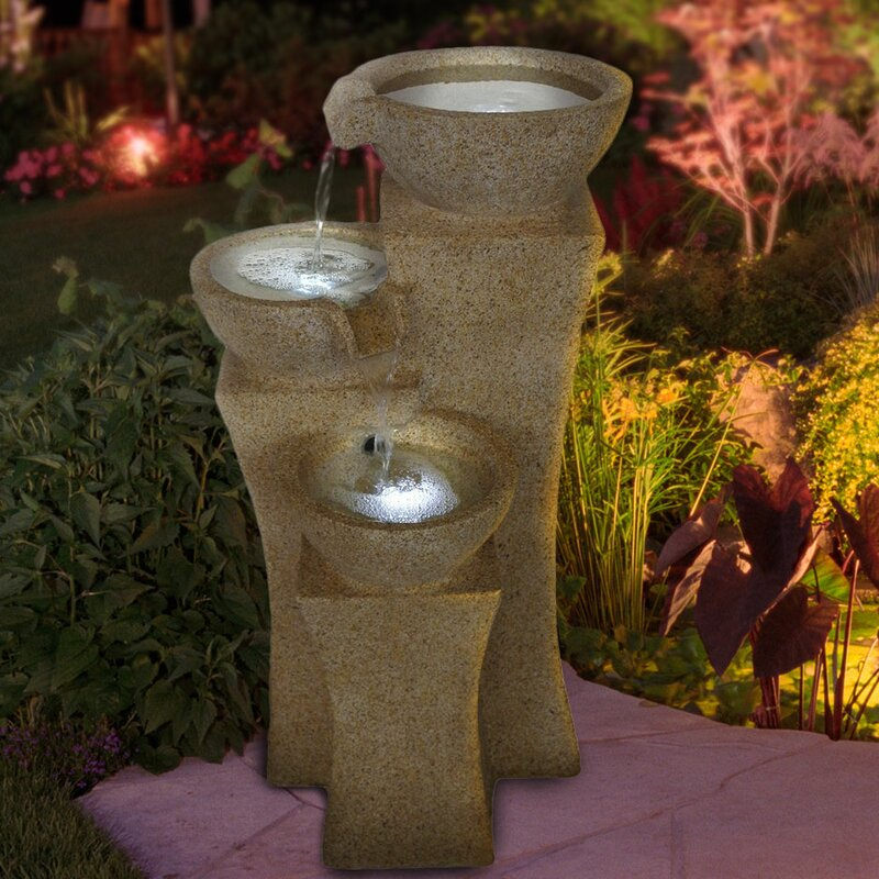 Resin Cascading Bowls Tiered Fountain With Led Light
