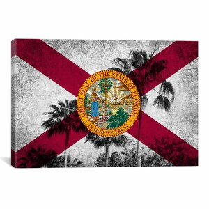 Florida Flag, Grudge Palm Trees Graphic Art on Canvas by iCanvas