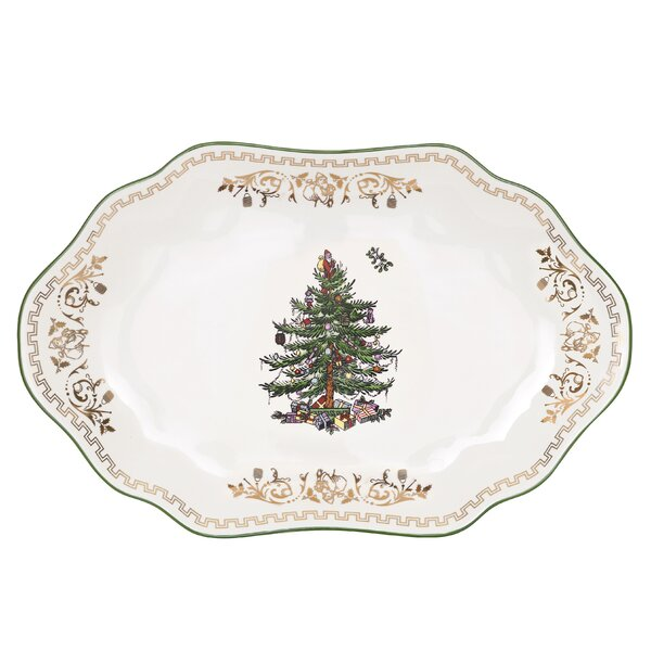 Christmas Tree Gold Platter By Spode.