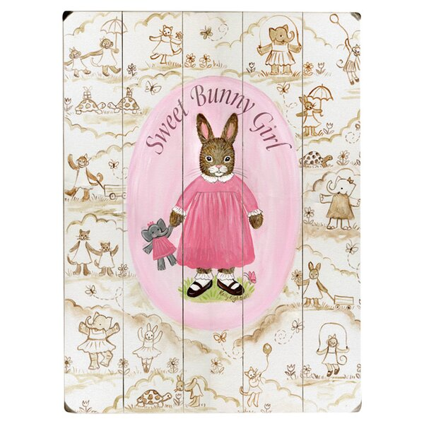 Sweet Bunny Girl Drawing Print Multi-Piece Image on Wood by Artehouse LLC