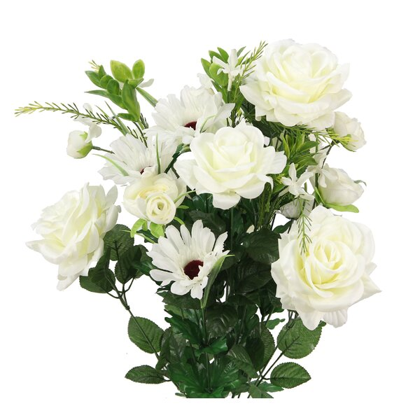 20 Stems Artificial Blooming Rose Gerbera Daisy/Ranunculus Mixed Floral Arrangement by Ophelia & Co.