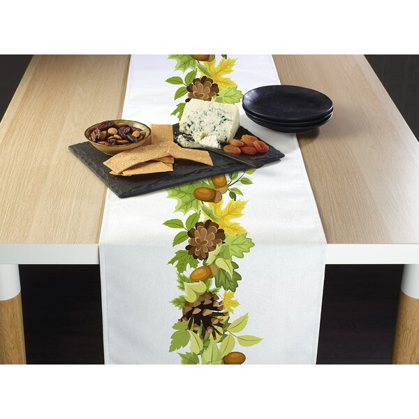 Imes Pine Cones and Leaves Border Table Runner by Alcott Hill