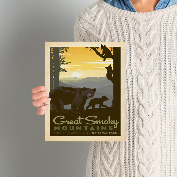 National Park Great Smoky Mountains Bear Family Vintage Advertisement by East Urban Home