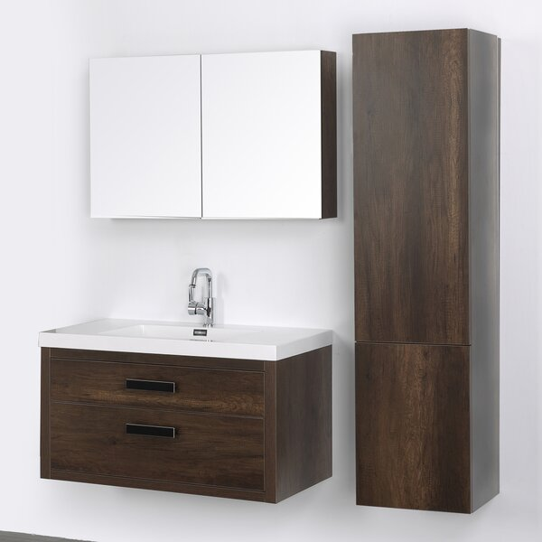 39 Wall Mounted Single Bathroom Vanity Set with Mirror by Streamline Bath