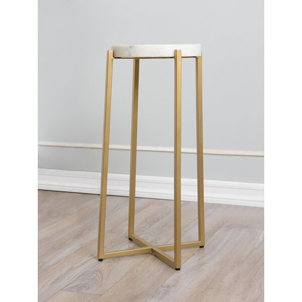 Headrick Marble Top Cross Legs End Table by Everly Quinn Everly Quinn