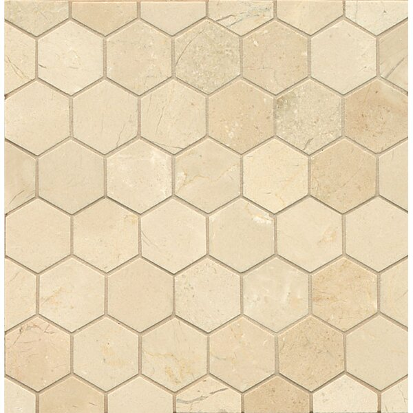 Hexagon 2 Marble Polished Mosaic Tile in Crema Marfil Select by Grayson Martin