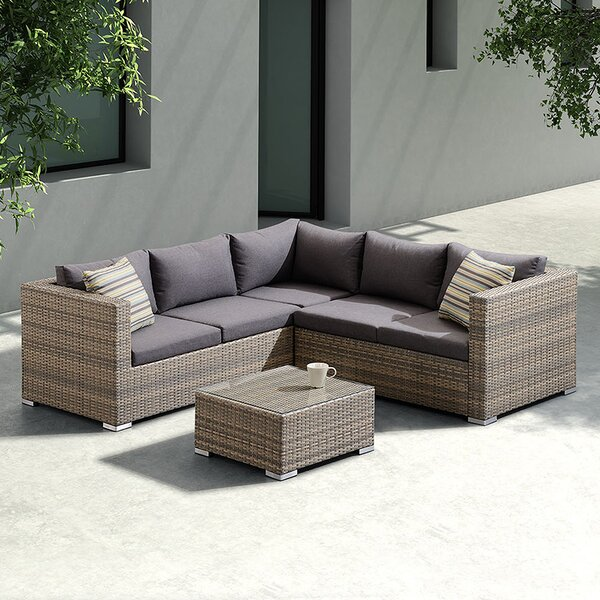 Tindall 3 Piece Rattan Sectional Set with Cushions by Orren Ellis
