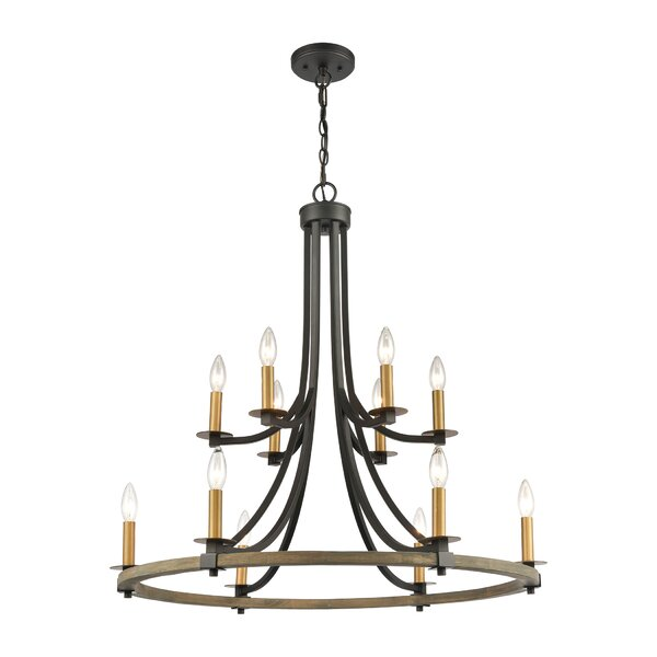 Hiarni 12 - Light Unique / Statement Wagon Wheel Chandelier by Gracie Oaks Gracie Oaks