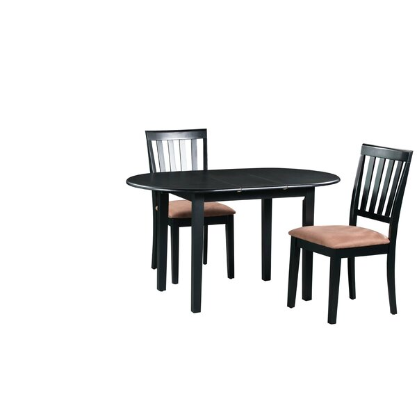 Forsyth 3 Piece Extendable Solid Wood Dining Set by Alcott Hill