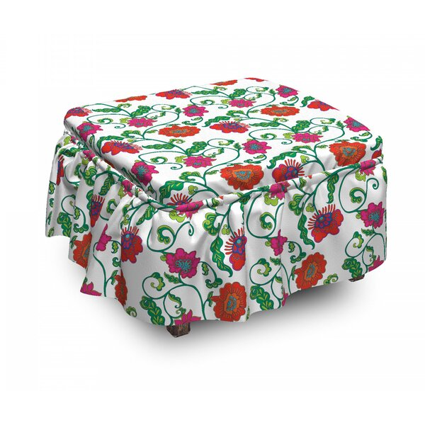 Romantic Spring Petals Ottoman Slipcover (Set Of 2) By East Urban Home