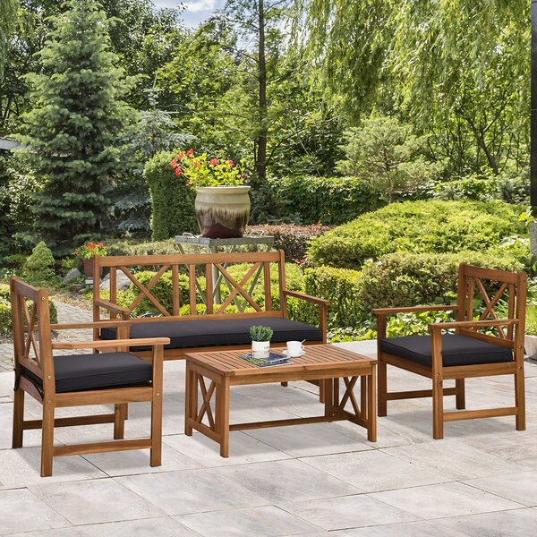 Brady 4 Piece Sofa Seating Group with Cushions by Foundry Select