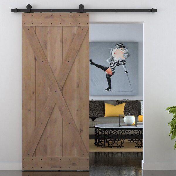 X Overlay Primed Sliding Knotty Solid Wood Panelled Alder Slab Interior Barn Door by Calhome
