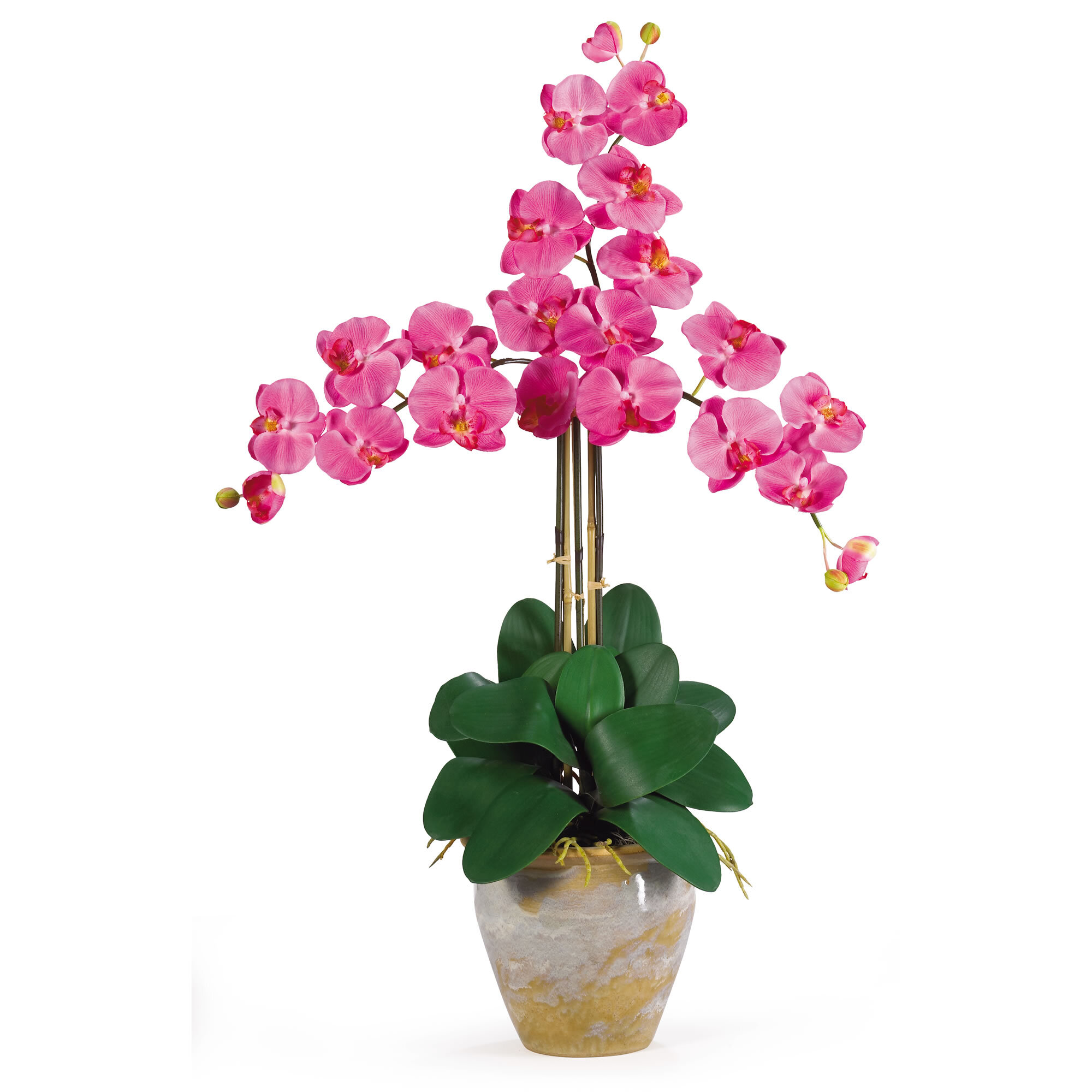 Nearly Natural Triple Phalaenopsis Silk Orchid Flowers In Dark Pink