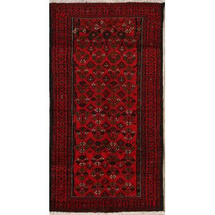 Compare & Buy One-of-a-Kind Tucci Balouch Vintage Persian Geometric Hand-Knotted Runner 3'3 x 6' Wool Red/Black Area Rug By Isabelline