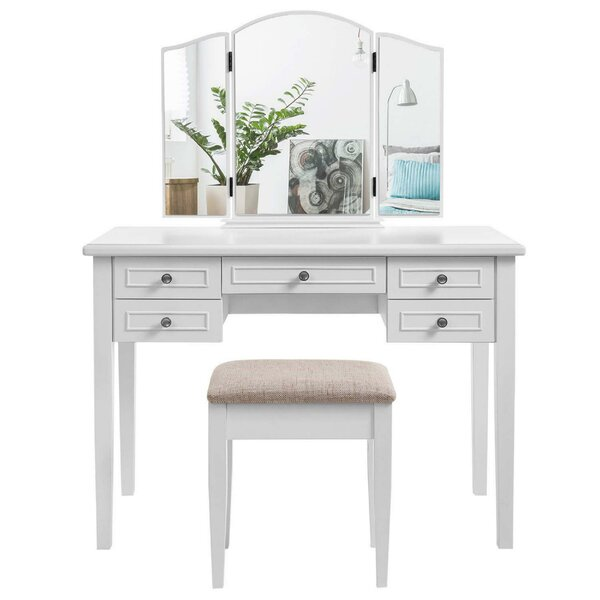Bartee Wooden Vanity Set with Mirror by Alcott Hill Alcott Hill