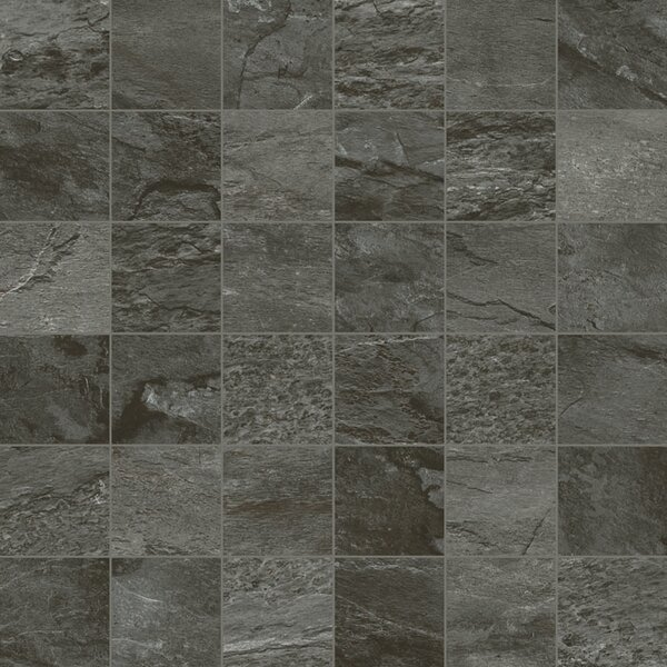 Dolomiti 2 x 2 Porcelain Mosaic Field Tile in Black by Madrid Ceramics