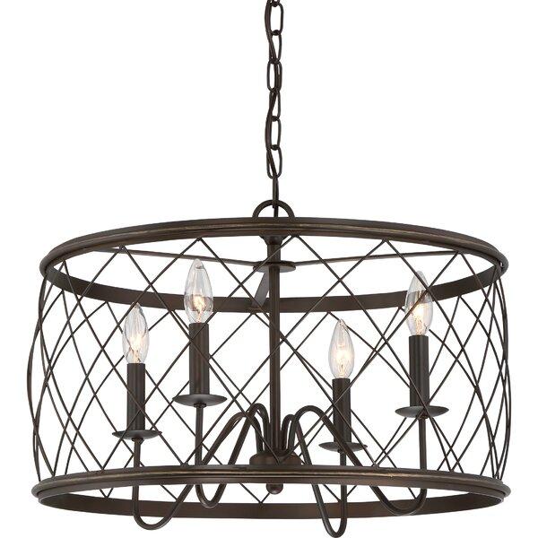 Gabriel 4 - Light Lantern Drum Chandelier by Laurel Foundry Modern Farmhouse Laurel Foundry Modern Farmhouse