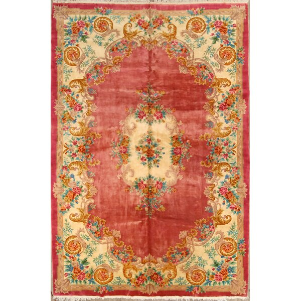 One-of-a-Kind Linnea Peking Chinese Oriental Hand-Knotted Wool Pink Area Rug by World Menagerie
