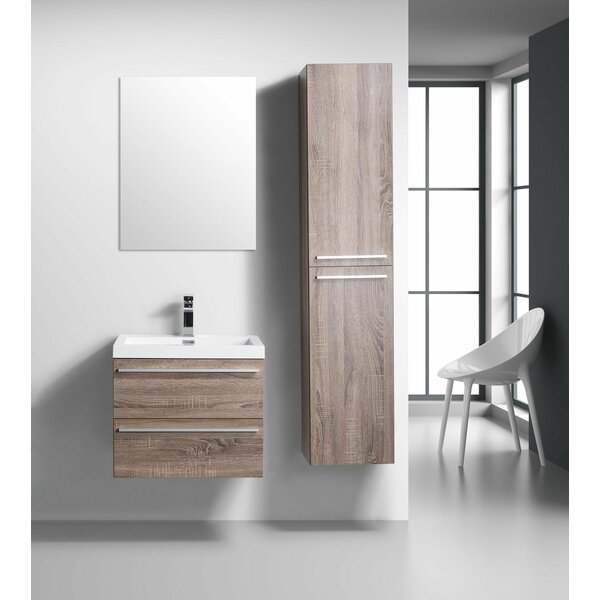Bolivia 24 Wall-Mounted Single Bathroom Vanity with Mirror by Foundry Select