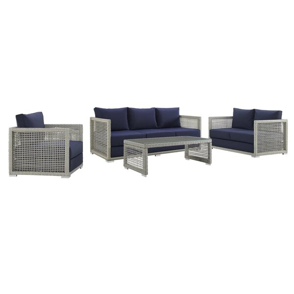 Cassiopeia 4 Piece Rattan Sofa Seating Group with Cushions by Highland Dunes