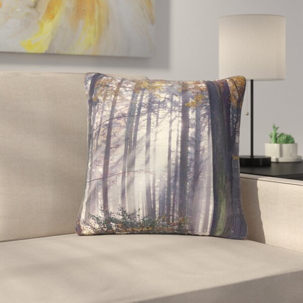 Alison Coxon Autumn Sunbeams Trees Photography Outdoor Throw Pillow by East Urban Home
