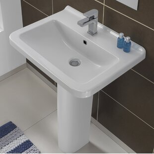 Big Save Erika Vitreous China 22 Pedestal Bathroom Sink with Overflow By Bissonnet