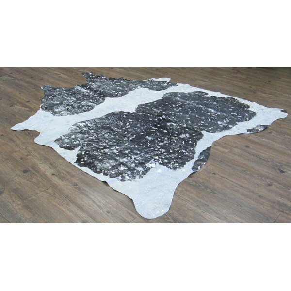 Broadmeade Hand-Woven Cowhide Black/White Area Rug by Foundry Select