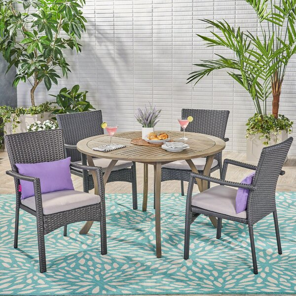 Aarhus 5 Piece Dining Set with Cushions by Ebern Designs