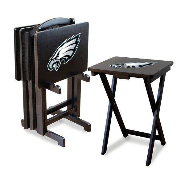NFL Team 4 Piece Tray Table Set with Stand by Imperial International