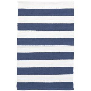 Catamaran Stripe Blue/White Indoor/Outdoor Area Rug
