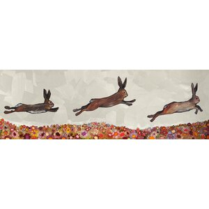 'Bunnies Jumping Over Flowers' Print on Wrapped Canvas by Mercury Row
