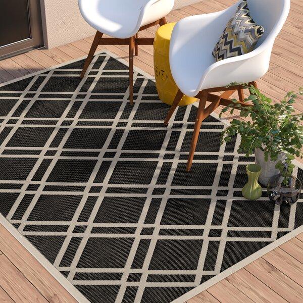 Short Black/Beige Indoor/Outdoor Rug by Winston Porter