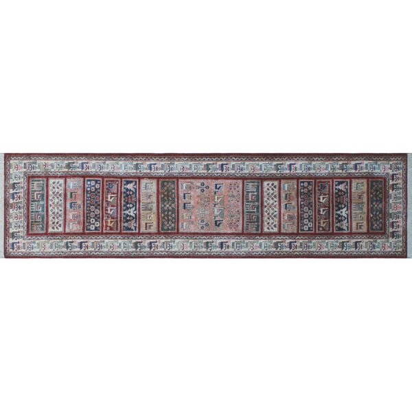 One-of-a-Kind Vernell Hand-Knotted Runner Red Area Rug by Isabelline