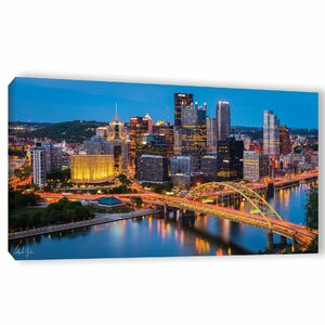 'Pittsburgh Skyline at Night' Photographic Print on Wrapped Canvas by Latitude Run