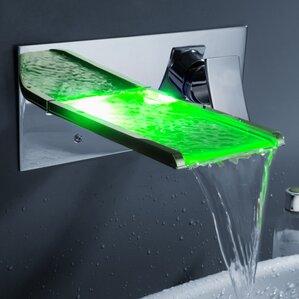 Superb Single Handle Wall Mount Waterfall Bathroom Sink Faucet