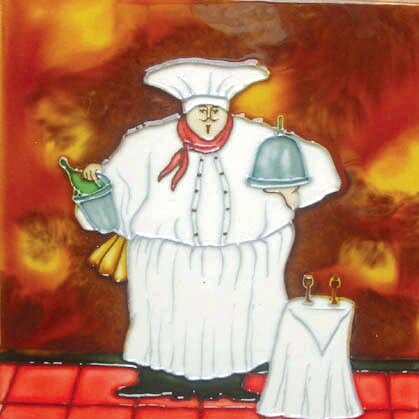 Fat Chef with Side Table Tile Wall Decor by Continental Art Center