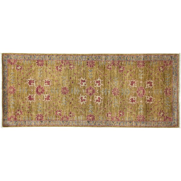 One-of-a-Kind Oushak Hand-Knotted Olive Area Rug by Solo Rugs