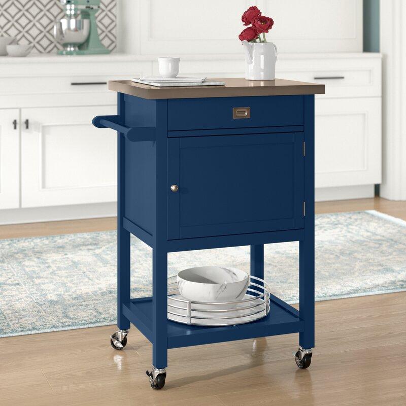 Willa Arlo Interiors Eira Kitchen Cart With Stainless Steel Top Reviews Wayfair