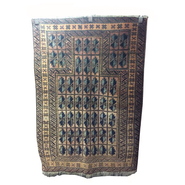 One-of-a-Kind Wiedemann Afghan Tribal Hand-Knotted Wool Brown/Blue Rug by Bloomsbury Market