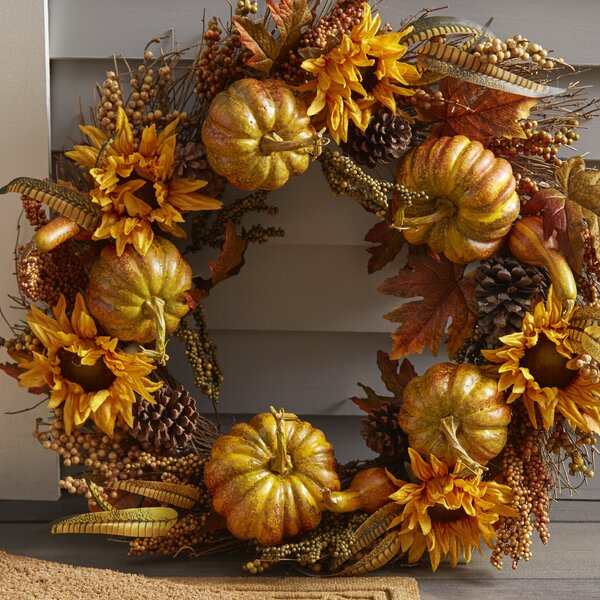 30 Pumpkins and Sunflowers Wreath by National Tree Co.