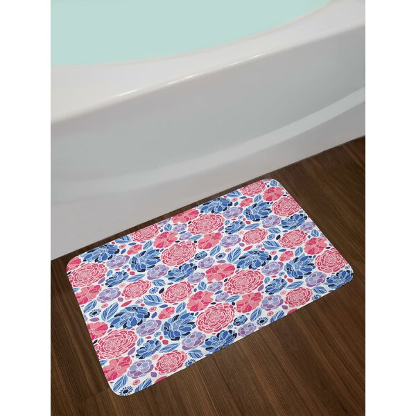 Vibrant Colored Floral Bath Rug by East Urban Home