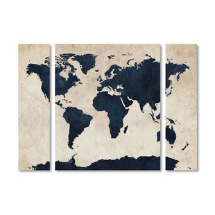 World map bedding sets wayfair world map navy 3 piece painting print on wrapped canvas set gumiabroncs Image collections