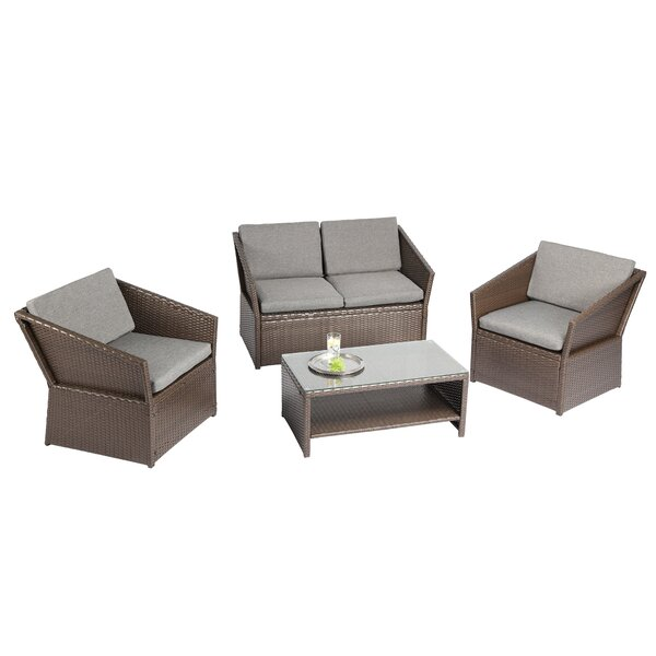 Orianna Outdoor 4 Piece Sofa Seating Group with Cushions by Charlton Home Charlton Home