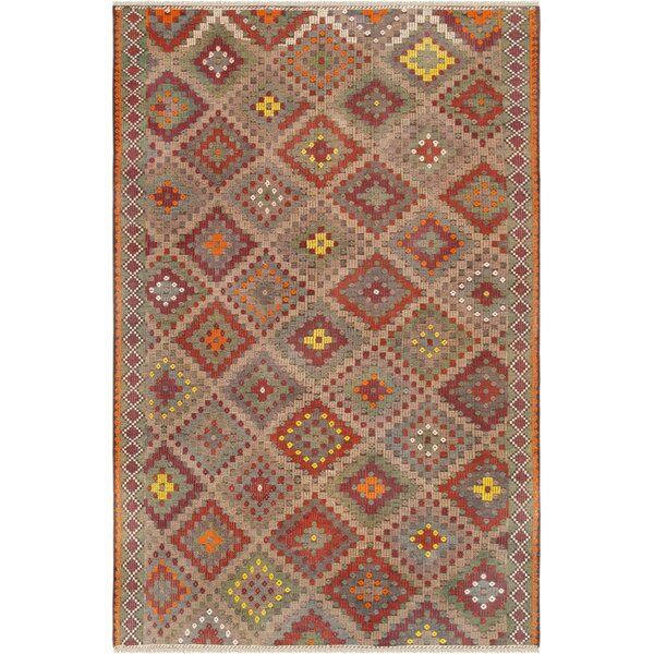 Vintage Kilim Hand-Woven Wool Beige/Red Area Rug by Pasargad