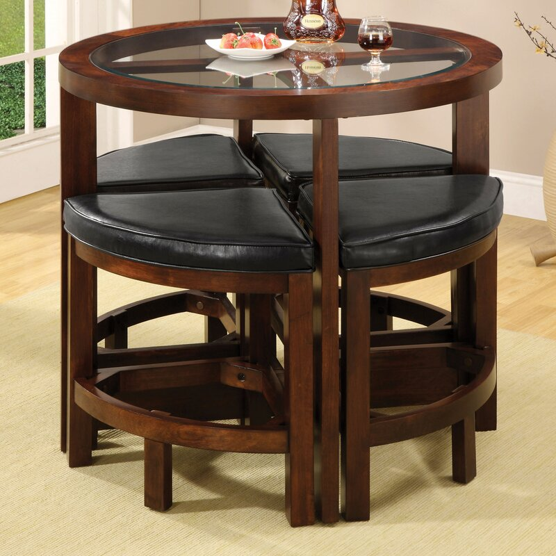 Jinie 5 Piece Counter Height Pub Table Set & Red Barrel Studio Jinie 5 Piece Counter Height Pub Table Set ...