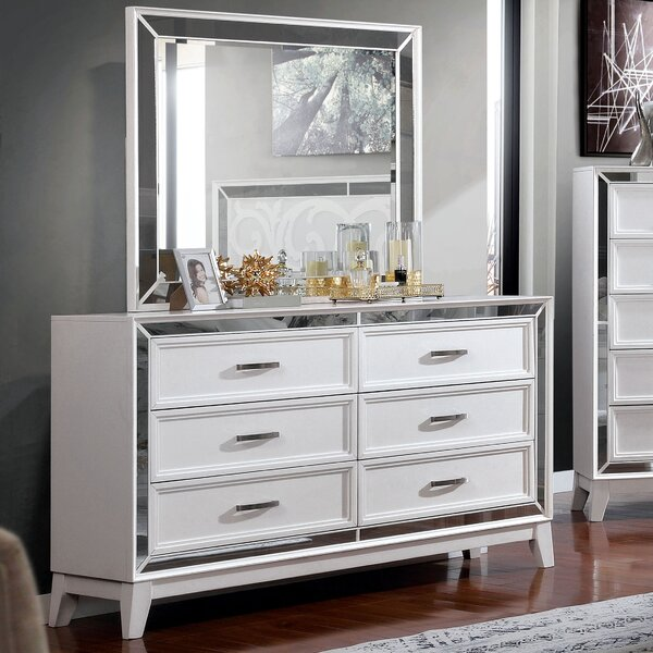 Lenny 6 Drawer Double Dresser with Mirror by Rosdorf Park