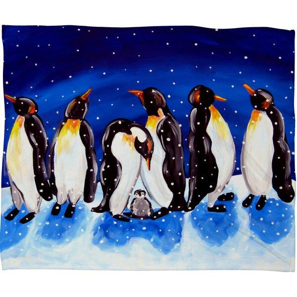 Renie Britenbucher Penguin Party Plush Fleece Throw Blanket by Deny Designs