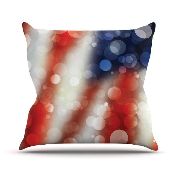 Patriot America Bokeh Throw Pillow by KESS InHouse